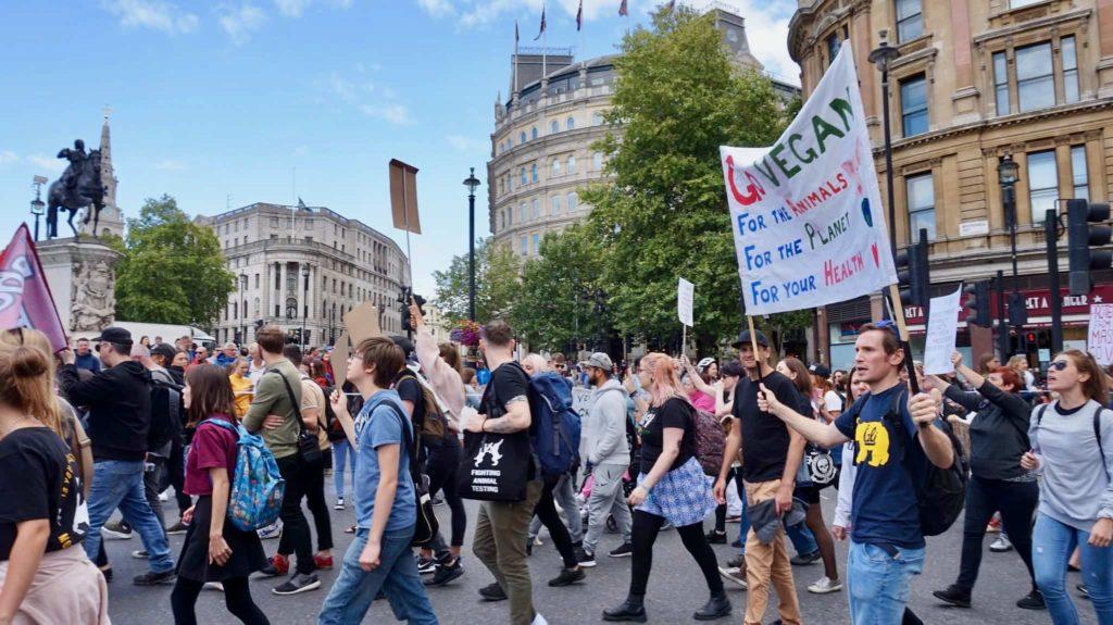 Vegans marching through London to demand animal liberation