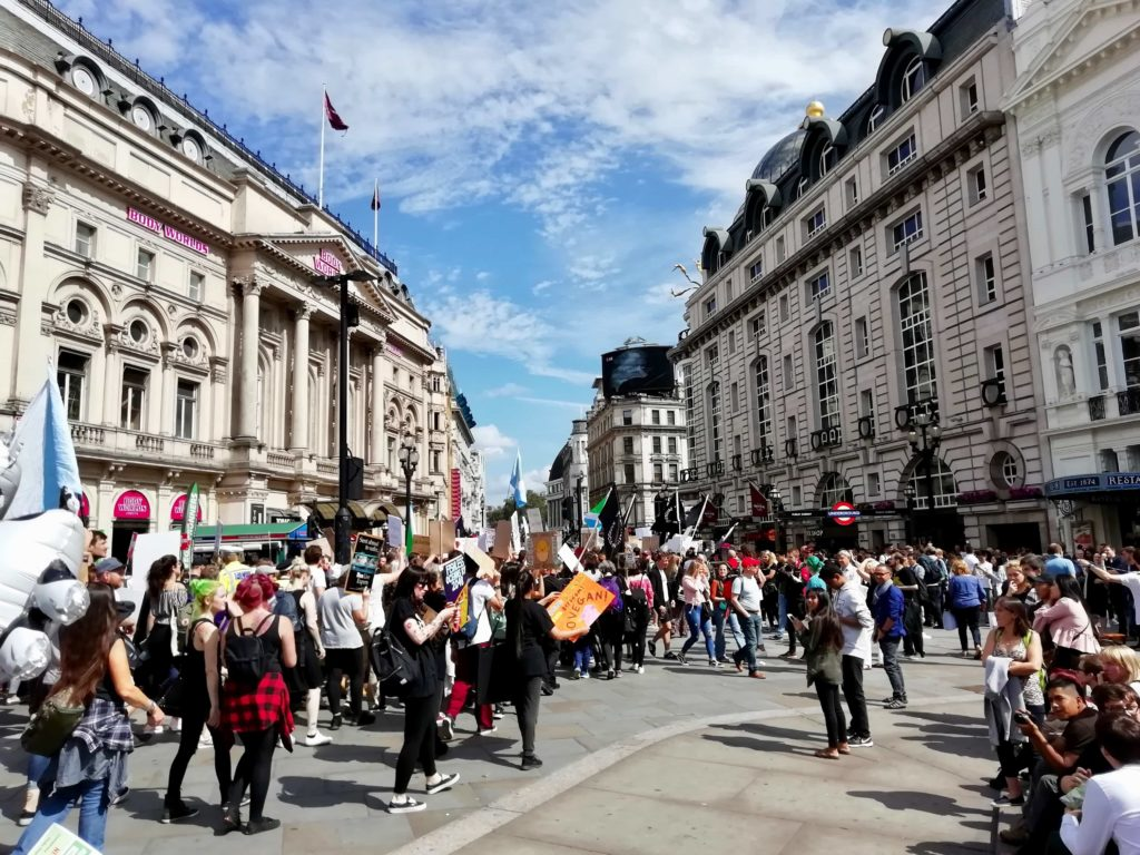 Protestors marching through central London on the Animal Rights March