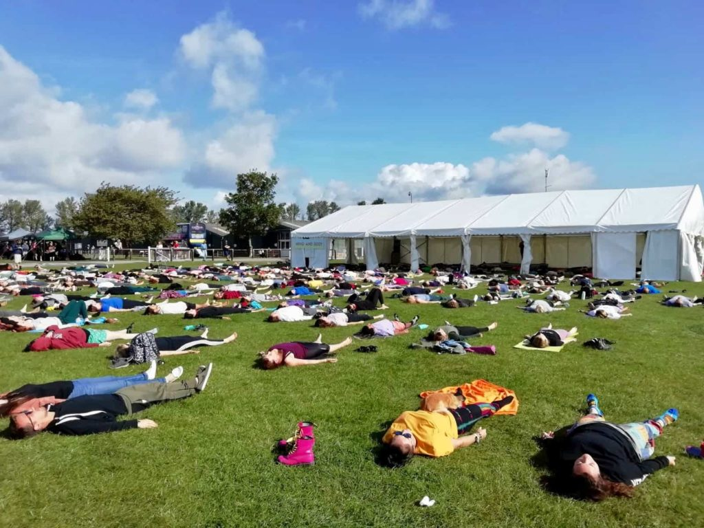 Yoga and meditation at the Vegan Campout UK