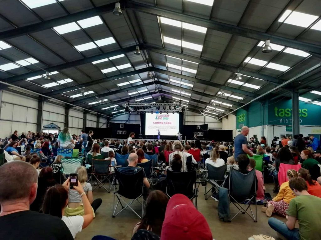 Main speaker hall at the Vegan Campout in the UK