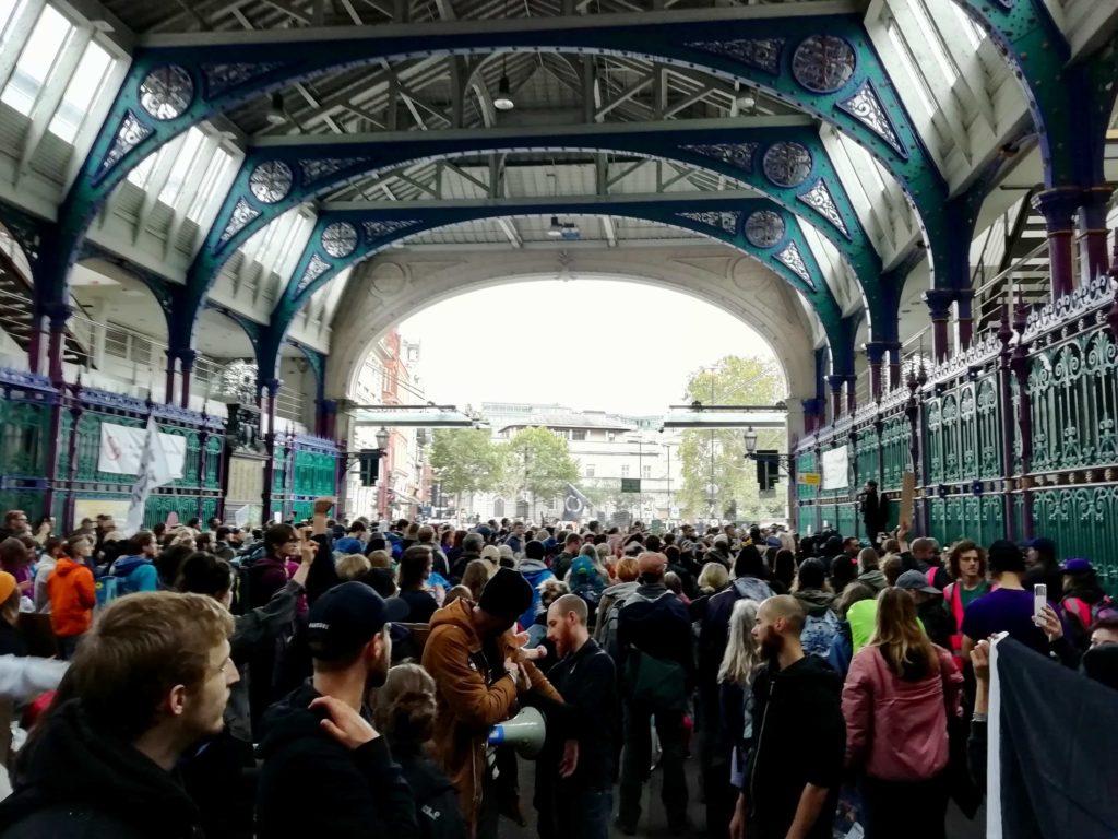 Animal Rebellion protestors at Smithfield Meat Market, London October 2019