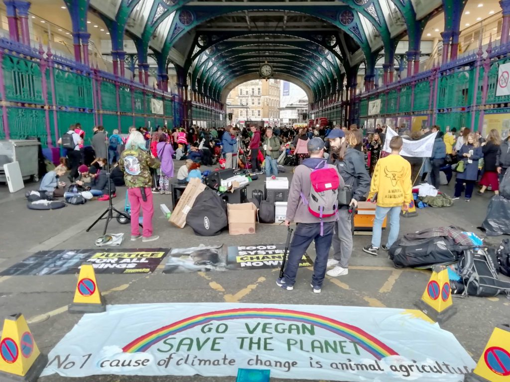 Animal Rebellion Occupying Smithfield Meat Market in London