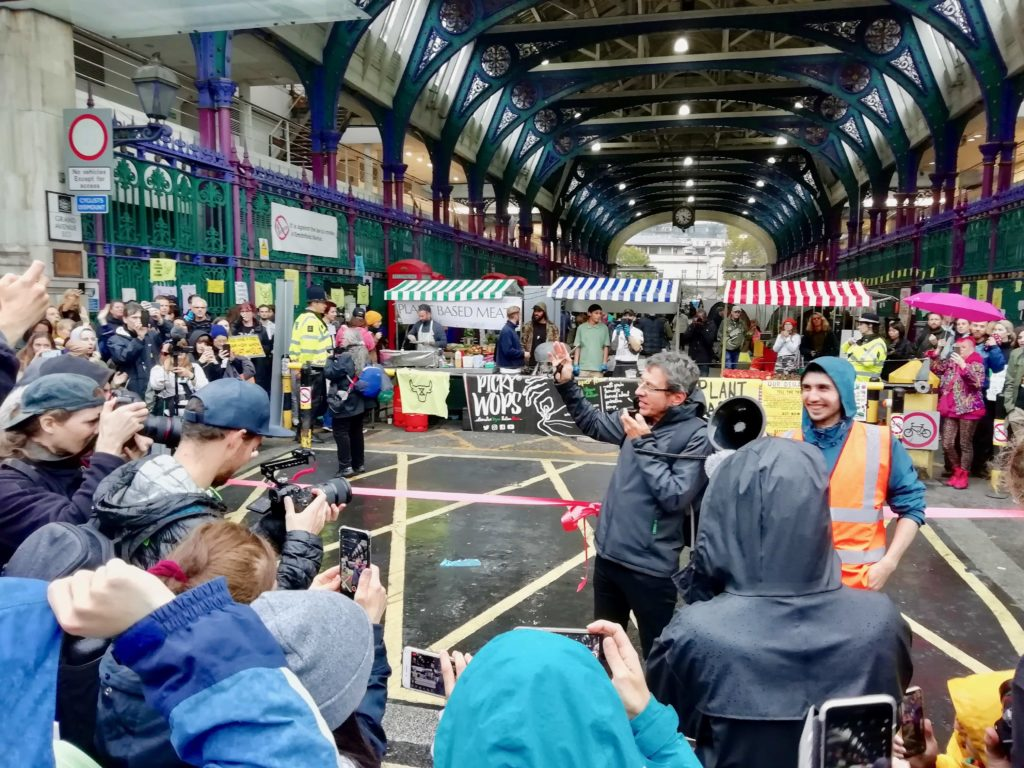 George Monbiot opening the Smithfield veg market during Animal Rebellion