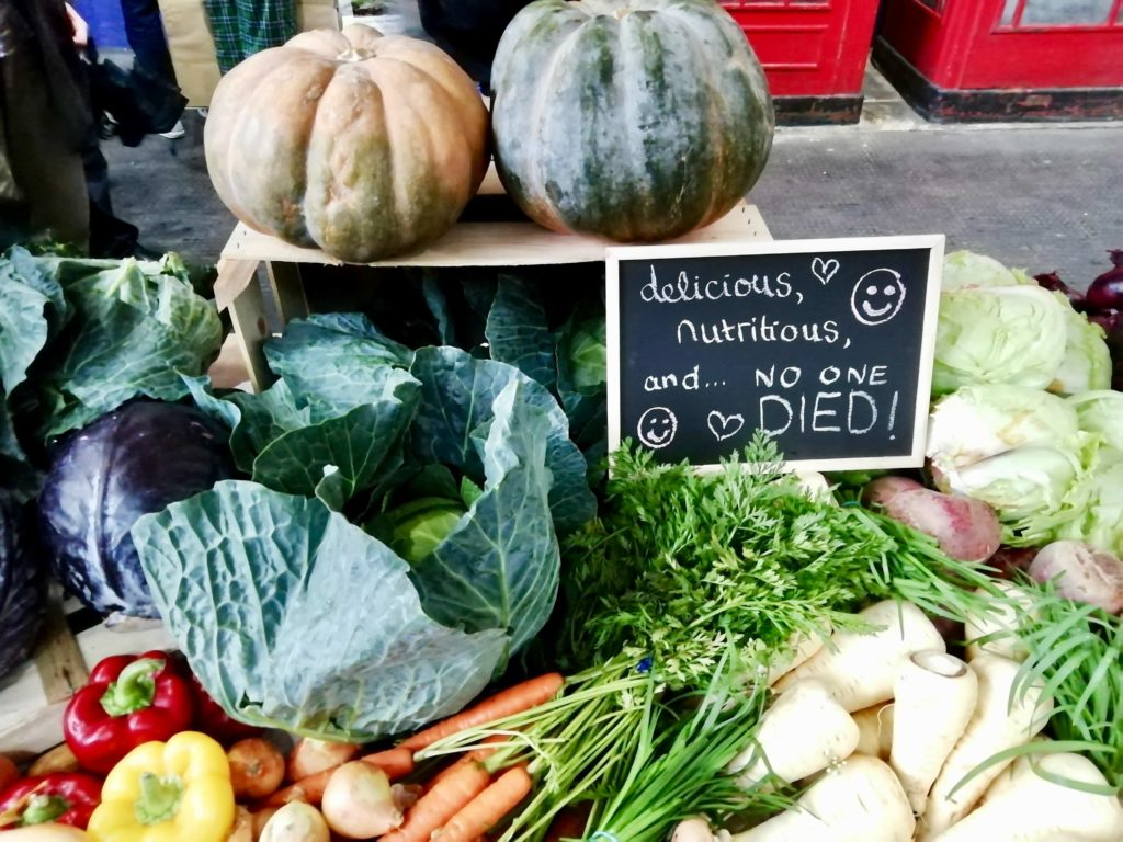 Delicious, nutritious and no-one died! Sign at the vegetable market