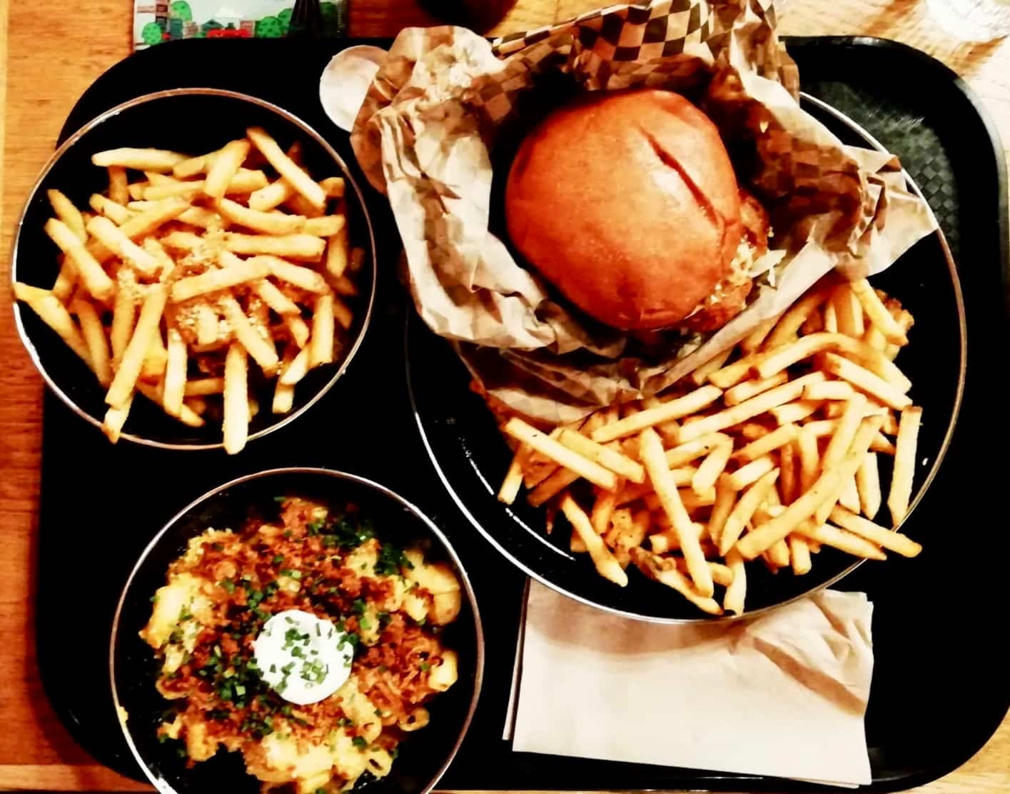 Burger, fries and mac and cheese from Rudy's Dirty Vegan Diner London