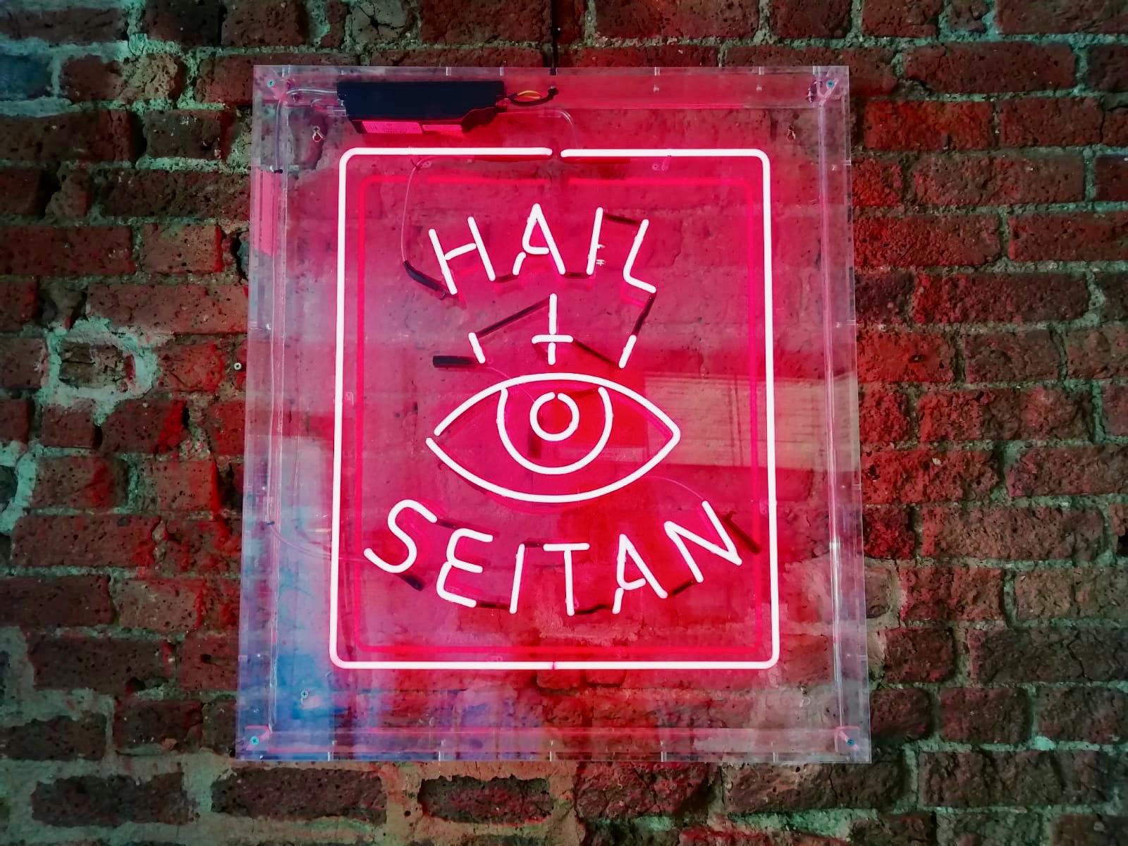 Hail Seitan sign at Temple of Seitan, Camden