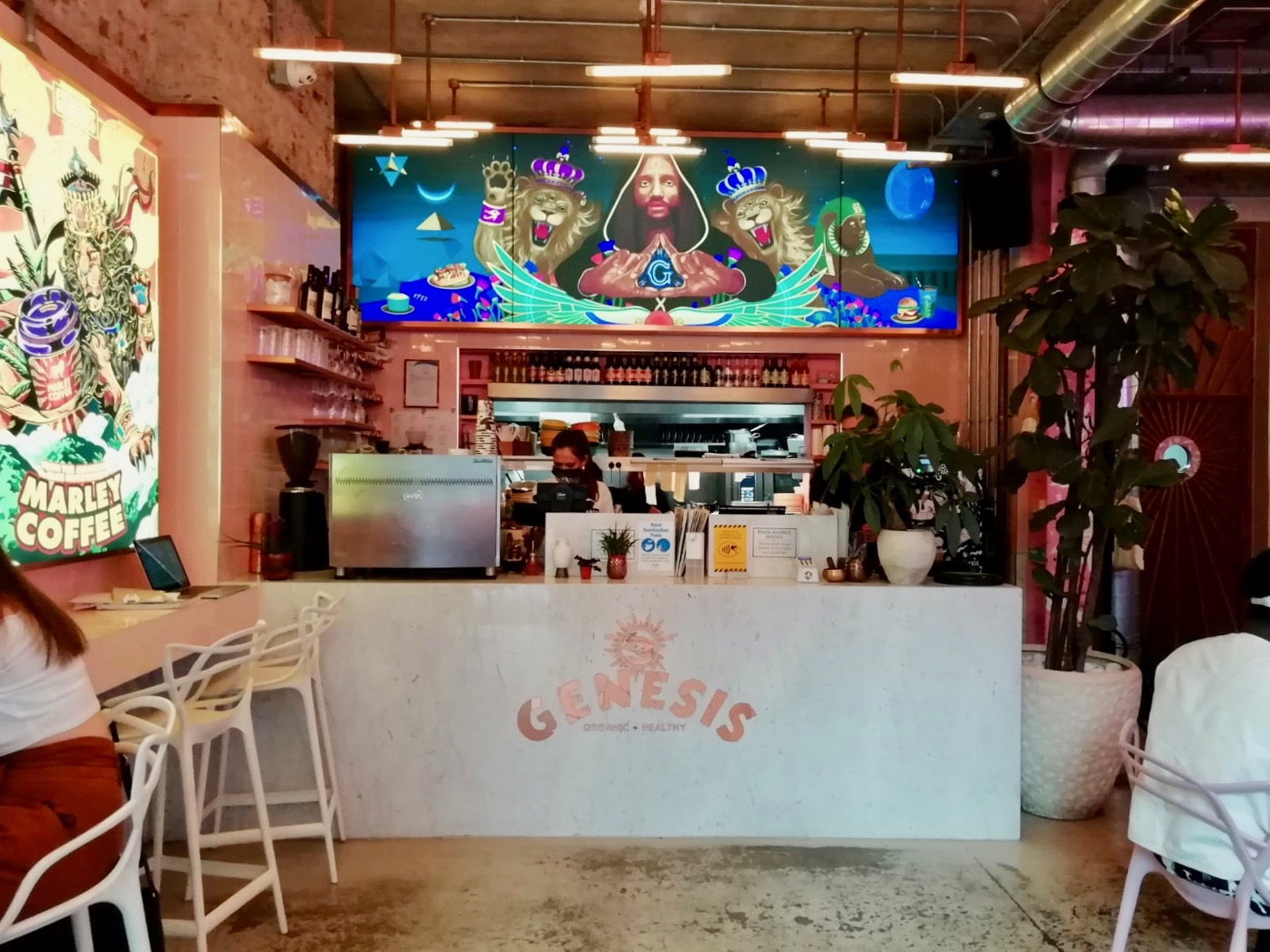 Mural in Genesis Vegan restaurant, London