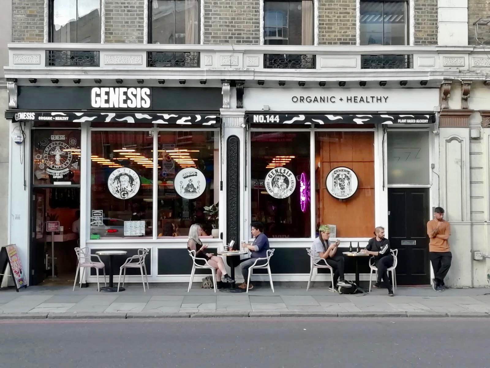 Outside of Genesis vegan restaurant in Shoreditch, London