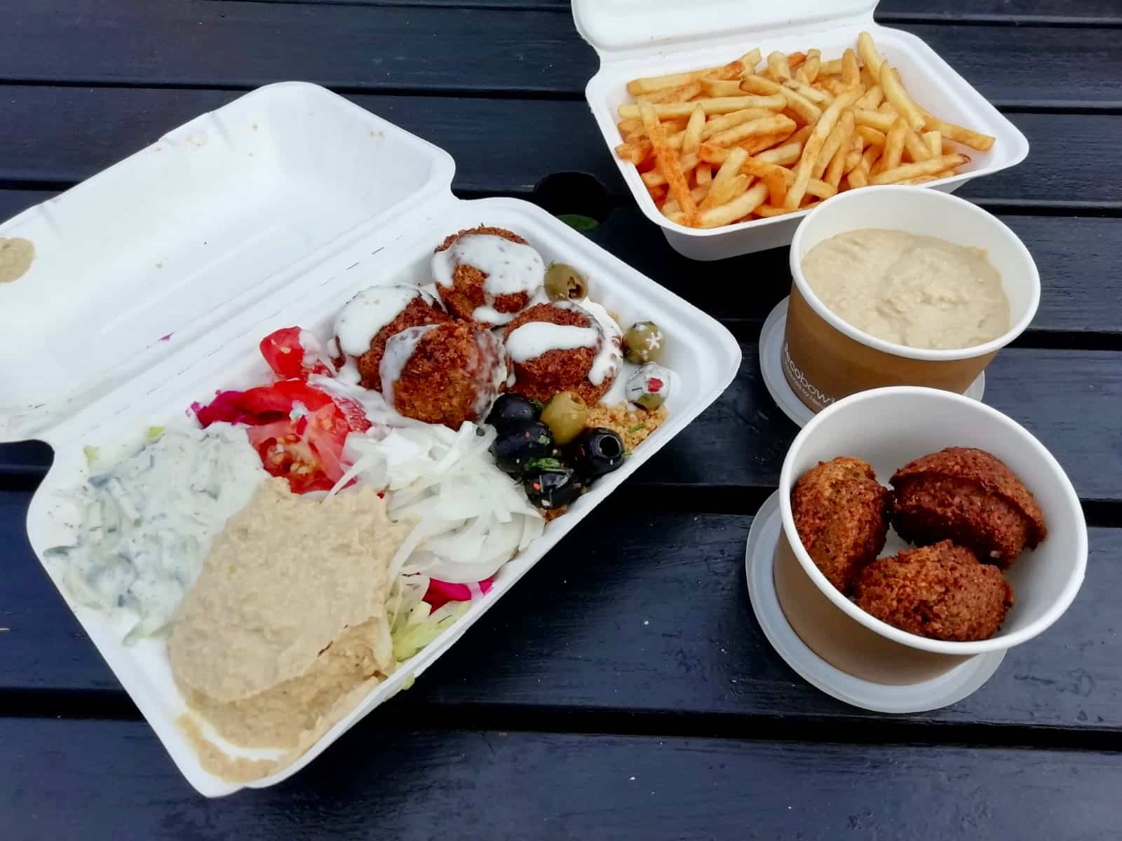 Mezze box, falafel, hummus and chips from What the Pita, Camden London