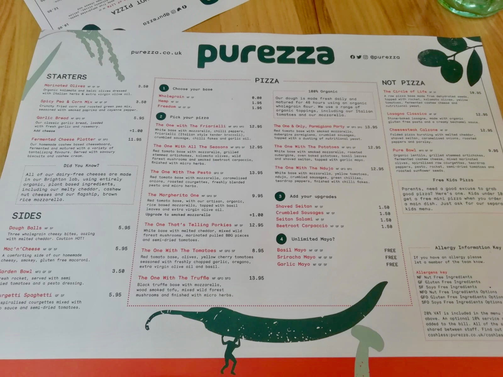 Purezza Camden menu and prices
