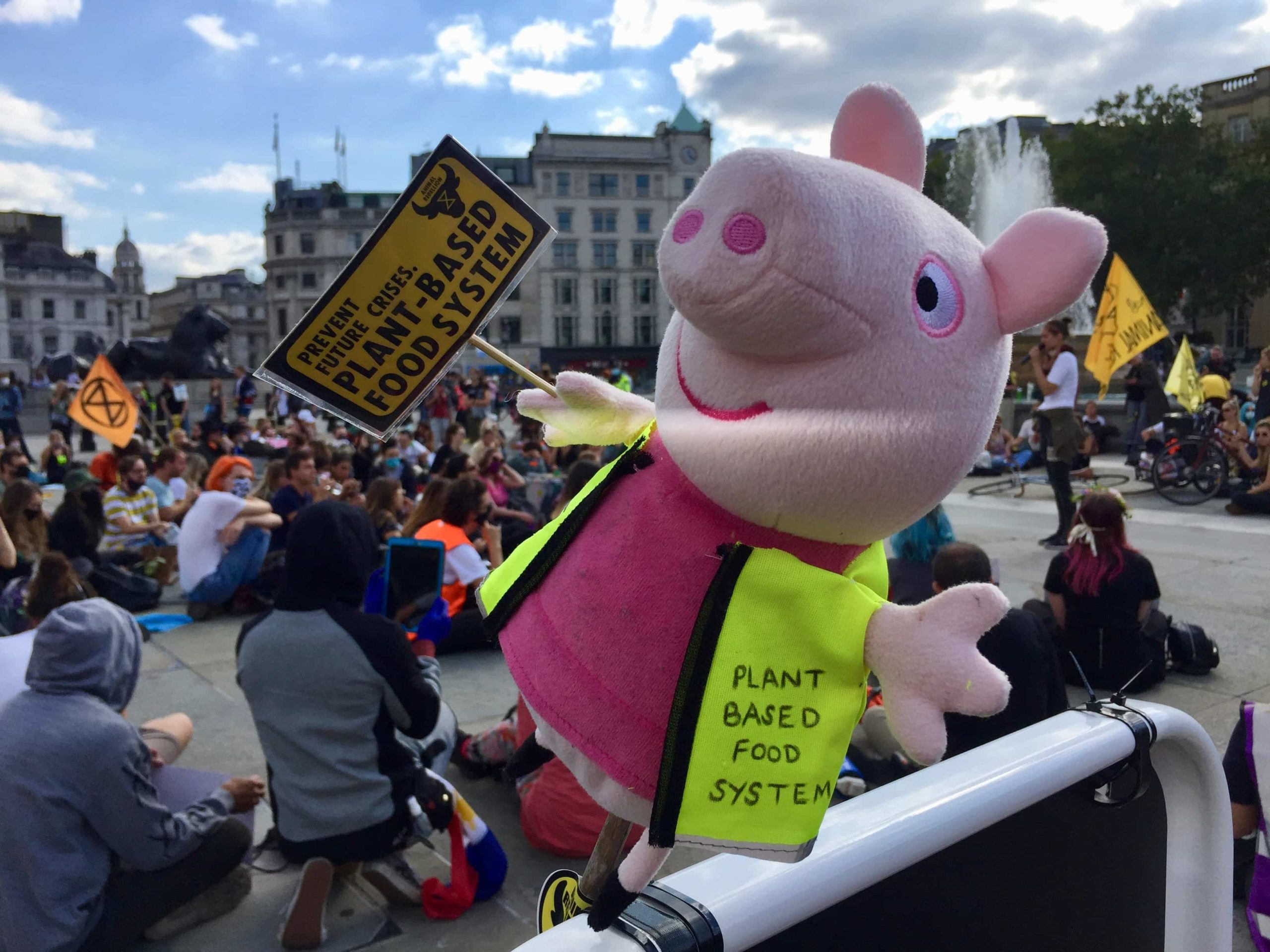 Pig with Plant Based Food System sign in London