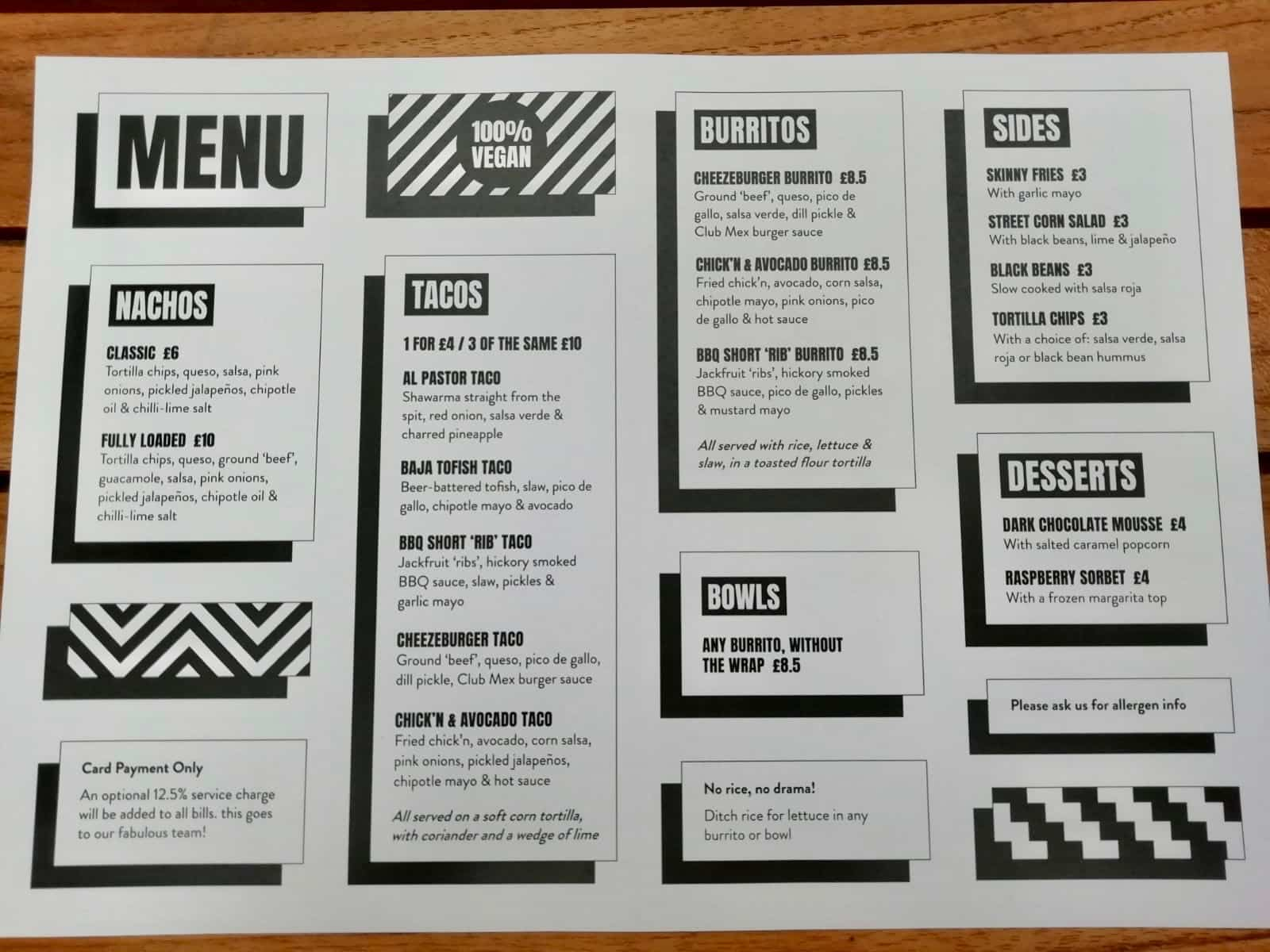 Club Mexicana Menu