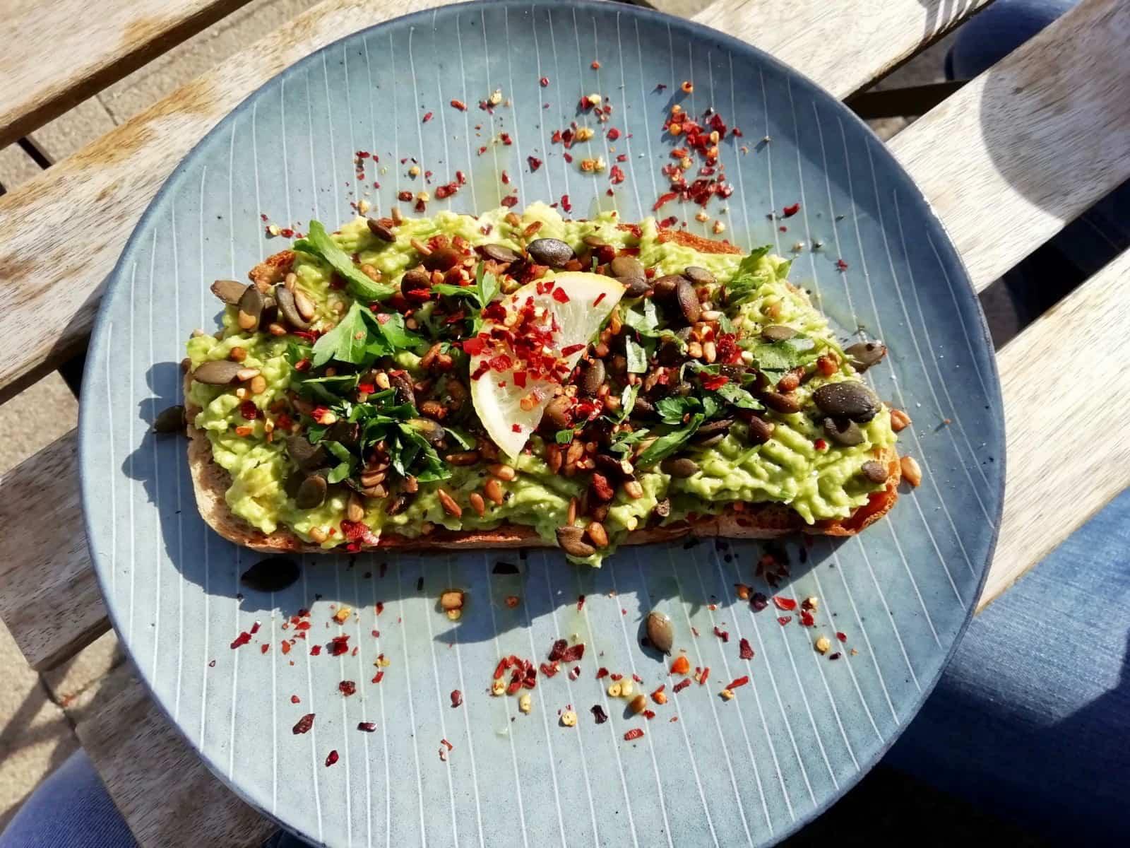 Avocado toast from The Longhouse Cafe, Brighton
